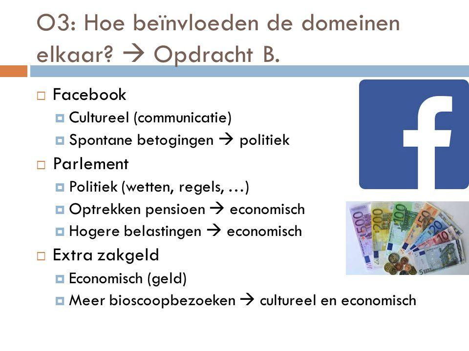 O3: Hoe beïnvloeden de domeinen elkaar  Opdracht B.