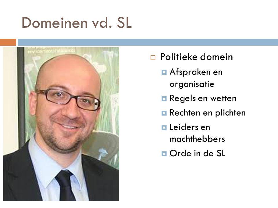 Domeinen vd. SL Politieke domein Afspraken en organisatie