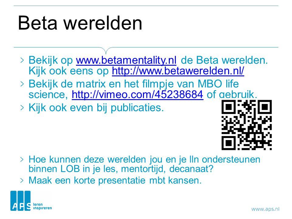 Beta werelden Bekijk op www.betamentality.nl de Beta werelden. Kijk ook eens op http://www.betawerelden.nl/