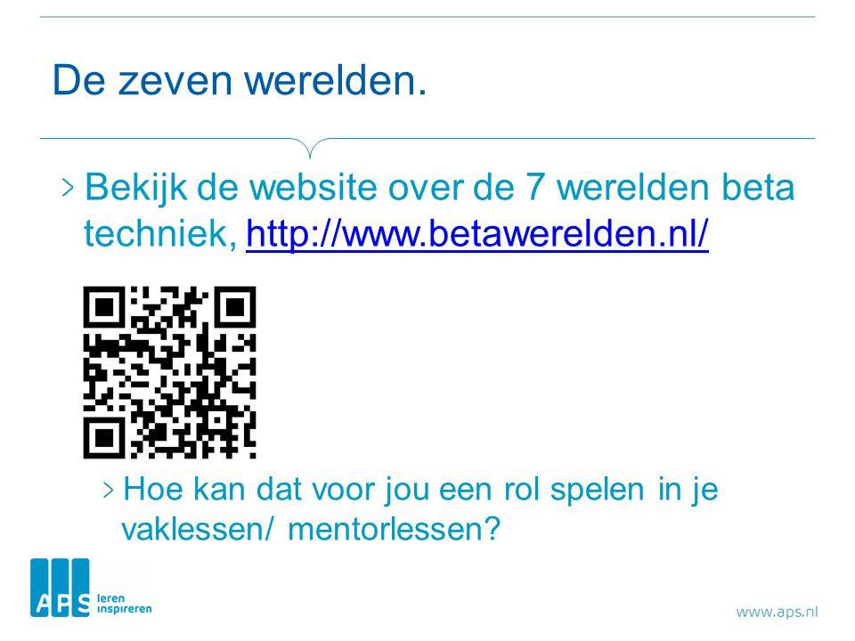 De zeven werelden. Bekijk de website over de 7 werelden beta techniek, http://www.betawerelden.nl/