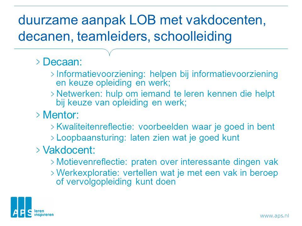 duurzame aanpak LOB met vakdocenten, decanen, teamleiders, schoolleiding