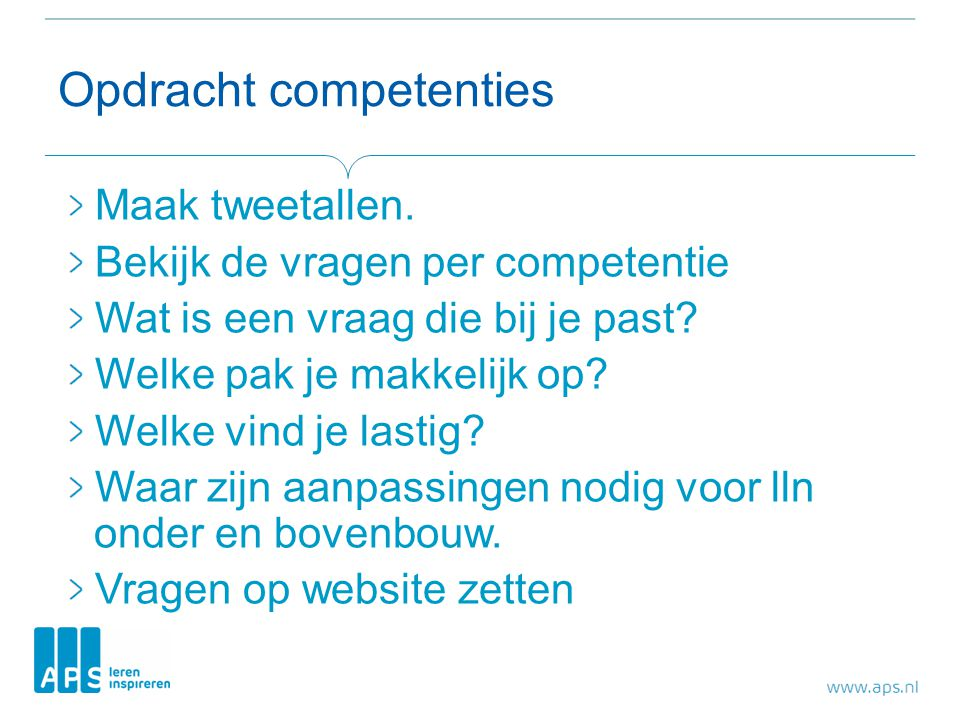 Opdracht competenties