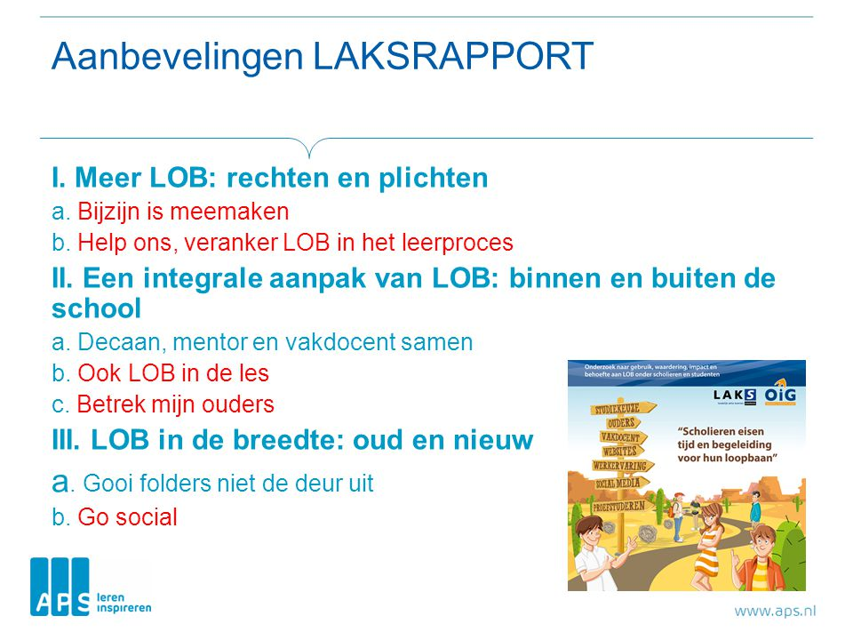 Aanbevelingen LAKSRAPPORT