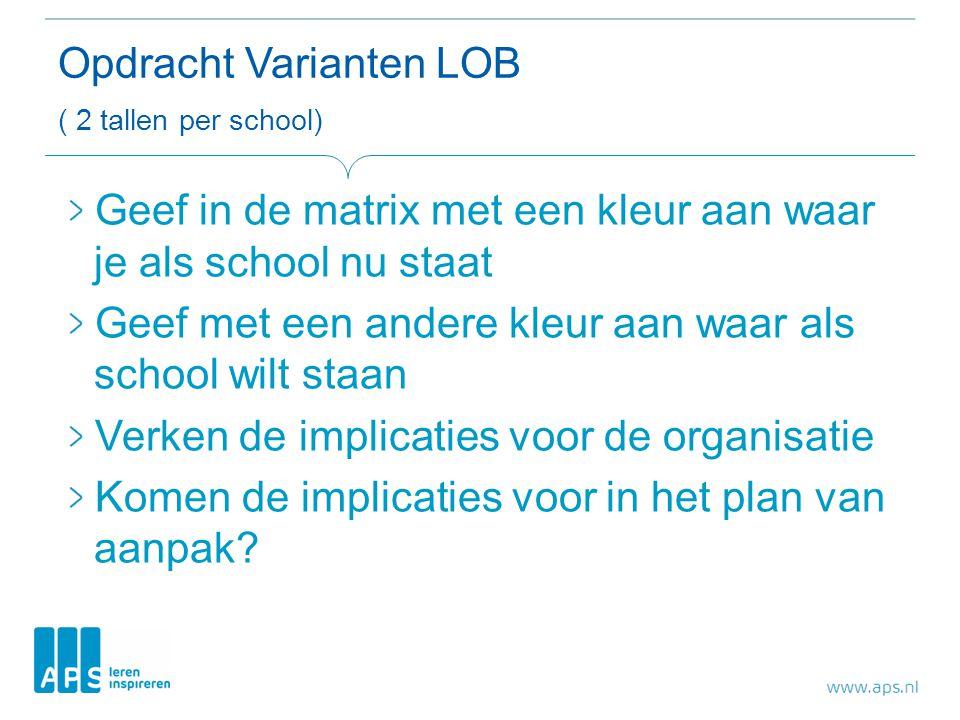 Opdracht Varianten LOB ( 2 tallen per school)