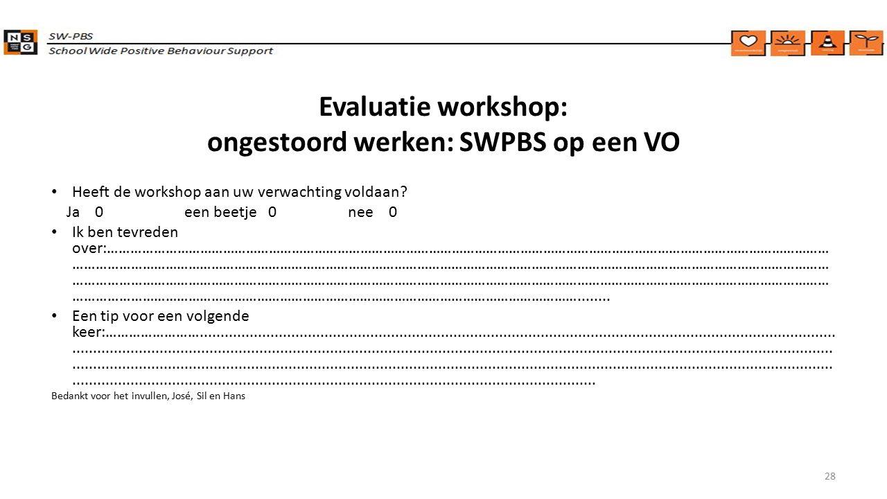 Evaluatie workshop: ongestoord werken: SWPBS op een VO