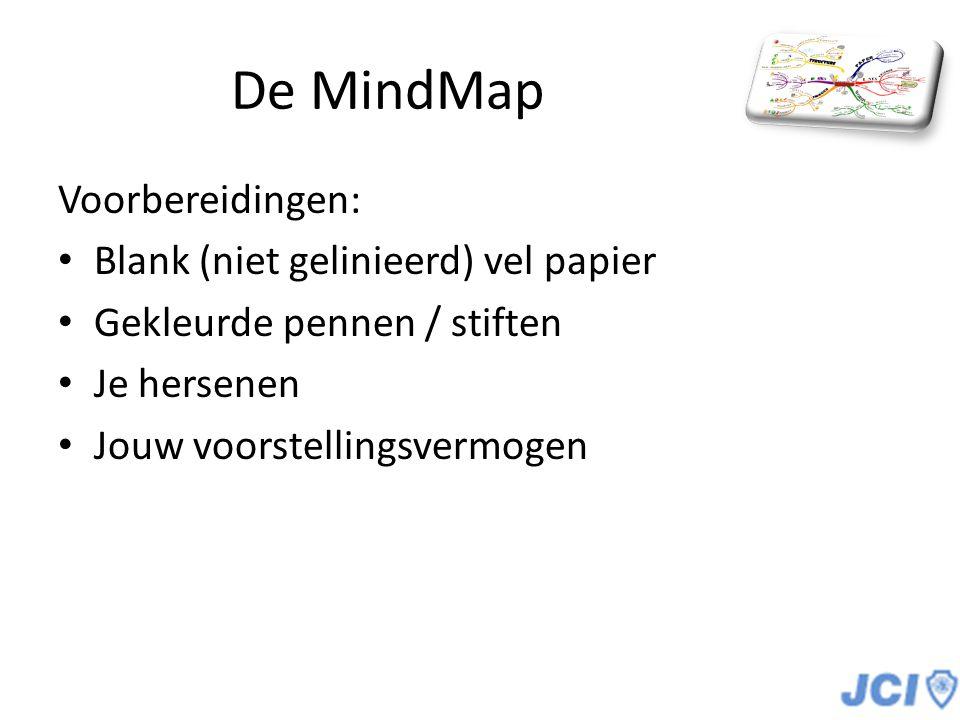 De MindMap Voorbereidingen: Blank (niet gelinieerd) vel papier