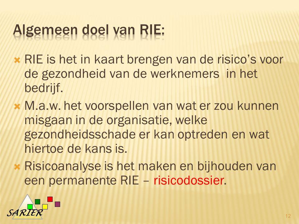 algemeen doel van RIE: RIE is het in kaart brengen van de risico's voor de gezondheid van de werknemers in het bedrijf.
