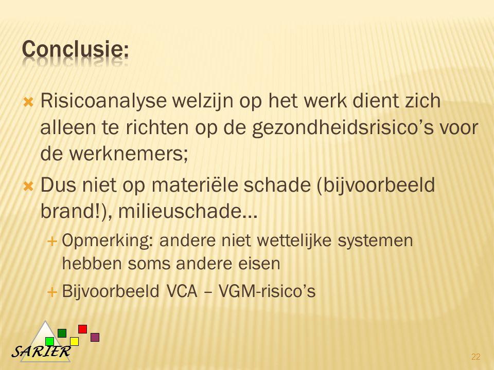 Conclusie: Risicoanalyse welzijn op het werk dient zich alleen te richten op de gezondheidsrisico's voor de werknemers;