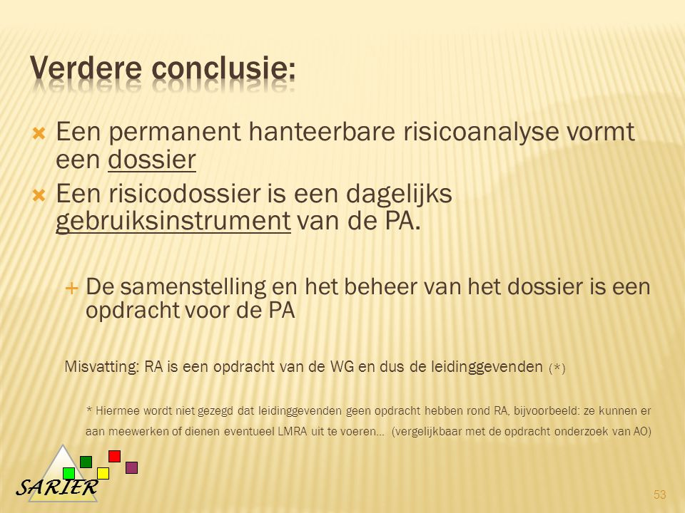 Verdere conclusie: Een permanent hanteerbare risicoanalyse vormt een dossier. Een risicodossier is een dagelijks gebruiksinstrument van de PA.