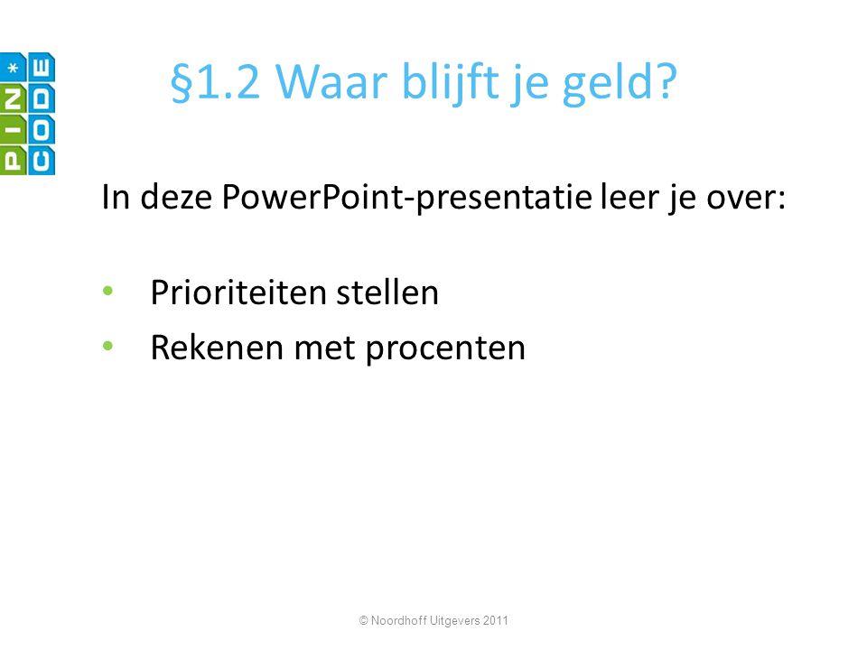 §1.2 Waar blijft je geld In deze PowerPoint-presentatie leer je over: