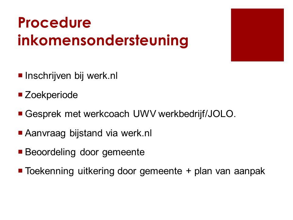 Procedure inkomensondersteuning
