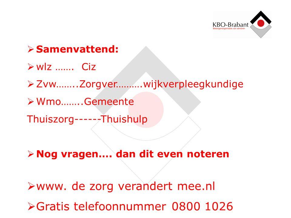 www. de zorg verandert mee.nl Gratis telefoonnummer 0800 1026