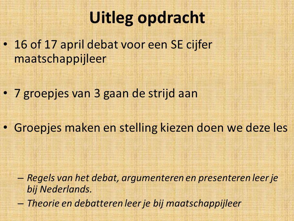 Uitleg opdracht 16 of 17 april debat voor een SE cijfer maatschappijleer. 7 groepjes van 3 gaan de strijd aan.