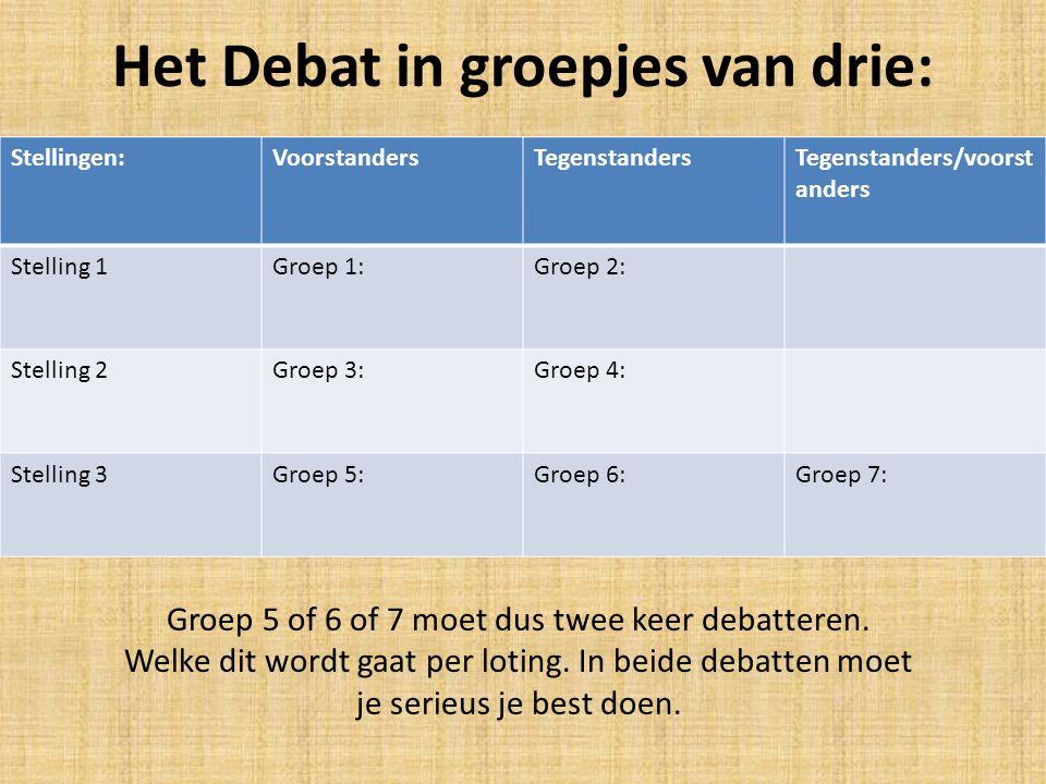 Het Debat in groepjes van drie:
