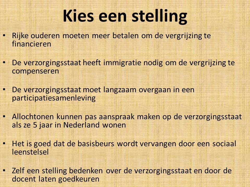 Kies een stelling Rijke ouderen moeten meer betalen om de vergrijzing te financieren.