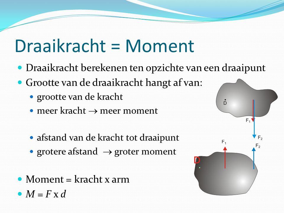 Draaikracht = Moment Draaikracht berekenen ten opzichte van een draaipunt. Grootte van de draaikracht hangt af van: