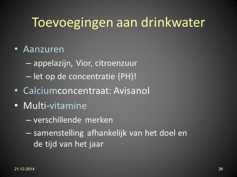 Toevoegingen aan drinkwater
