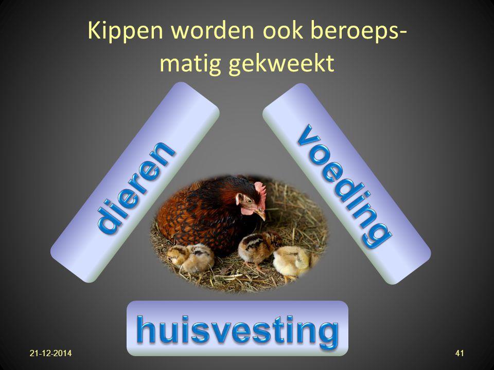 Kippen worden ook beroeps- matig gekweekt