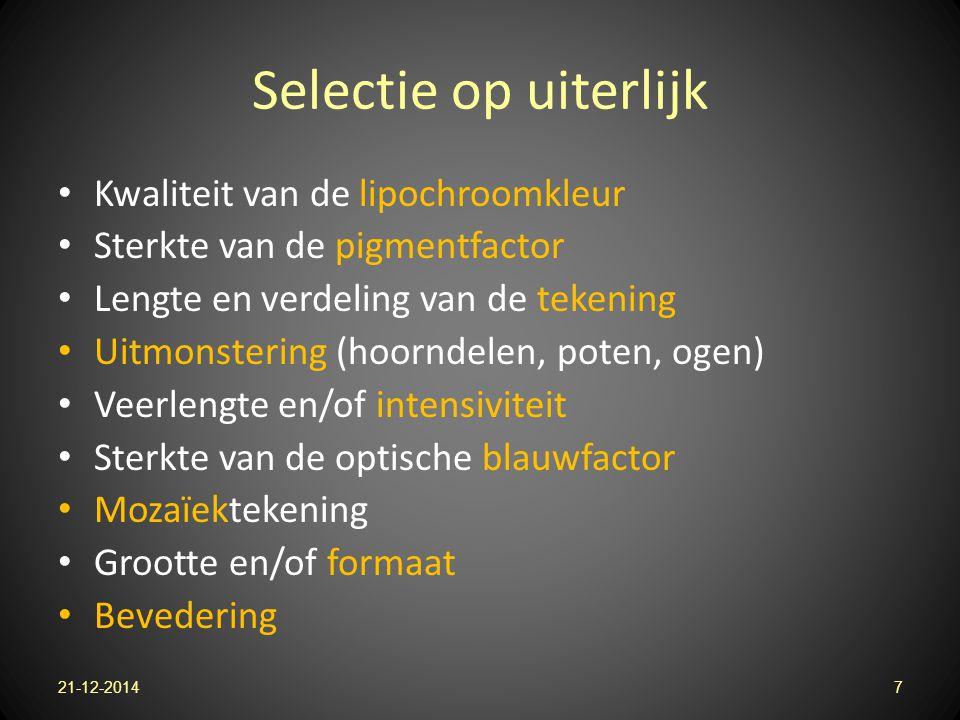 Selectie op uiterlijk Kwaliteit van de lipochroomkleur