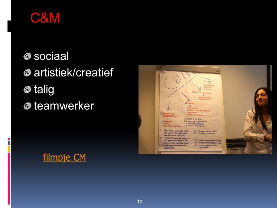 C&M sociaal artistiek/creatief talig teamwerker filmpje CM 10