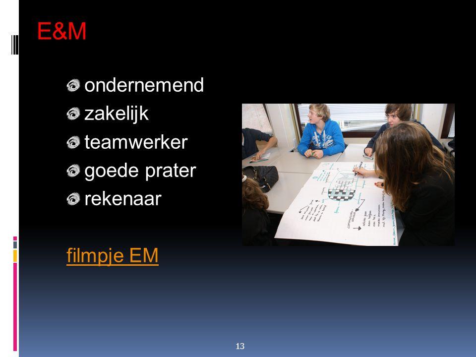 E&M ondernemend zakelijk teamwerker goede prater rekenaar filmpje EM