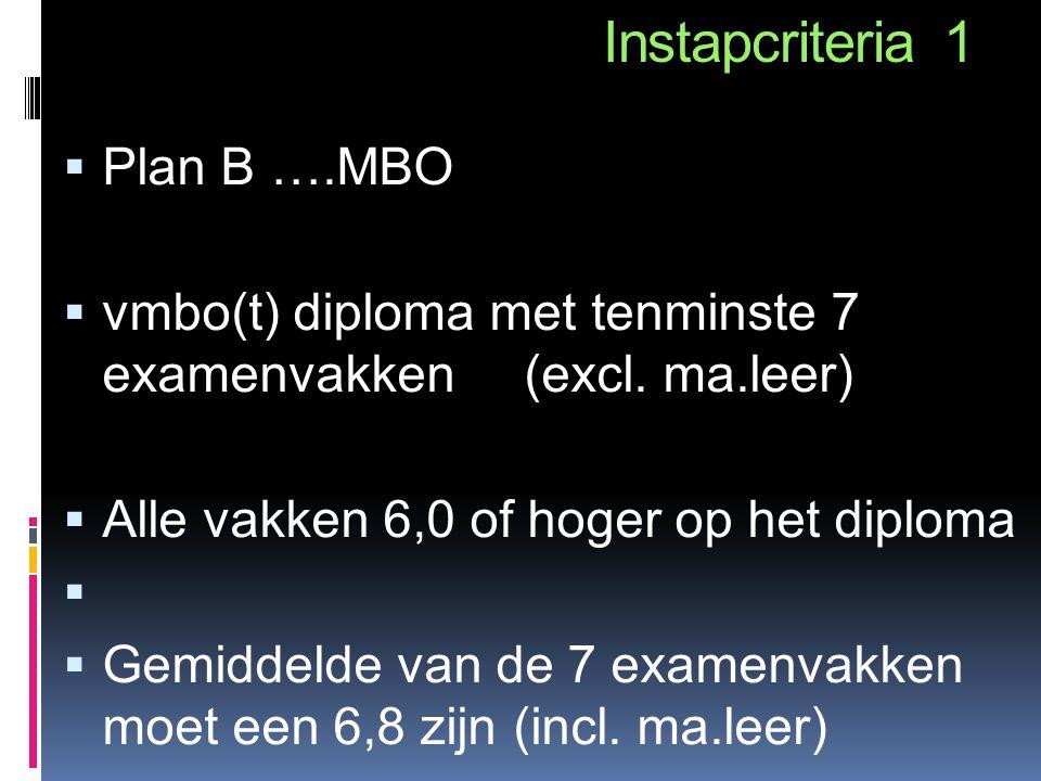 Instapcriteria 1 Plan B ….MBO