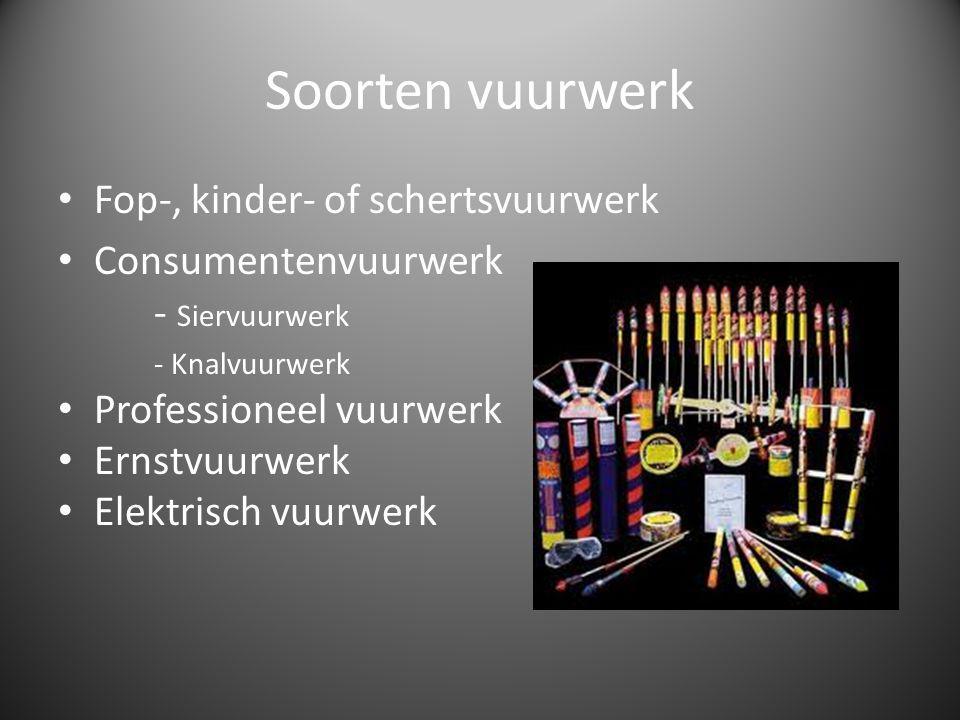Soorten vuurwerk Fop-, kinder- of schertsvuurwerk Consumentenvuurwerk