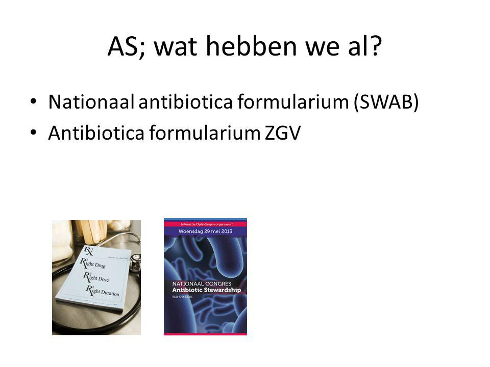 AS; wat hebben we al Nationaal antibiotica formularium (SWAB)