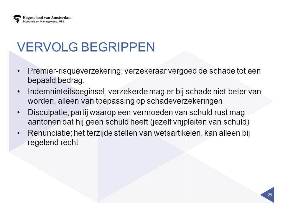 Vervolg begrippen Premier-risqueverzekering; verzekeraar vergoed de schade tot een bepaald bedrag.