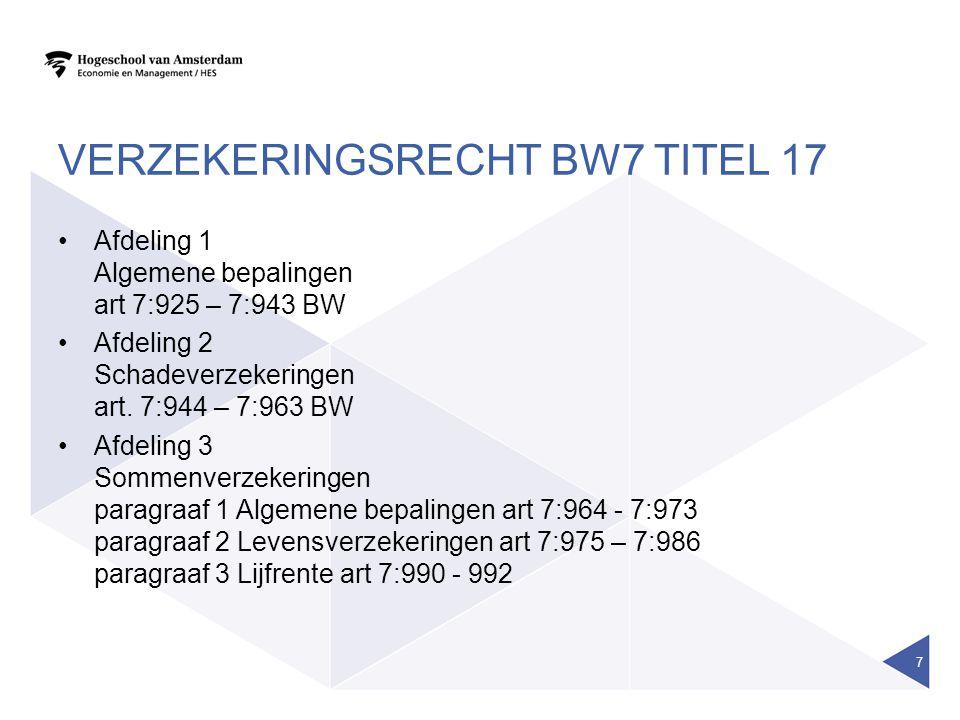 Verzekeringsrecht BW7 titel 17