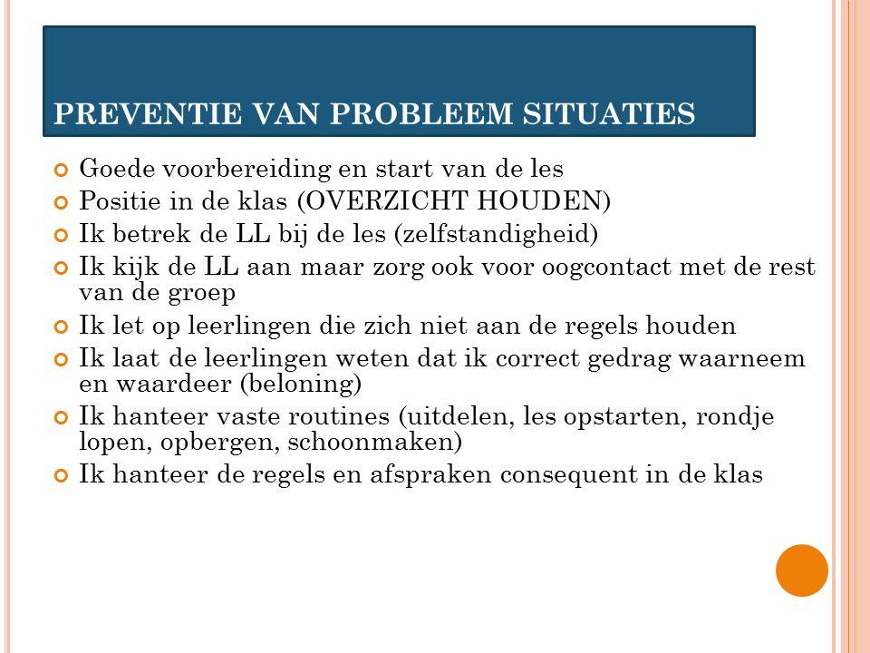 PREVENTIE VAN PROBLEEM SITUATIES