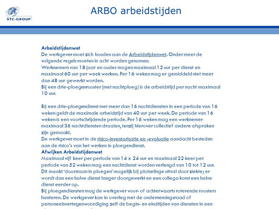 ARBO arbeidstijden Arbeidstijdenwet