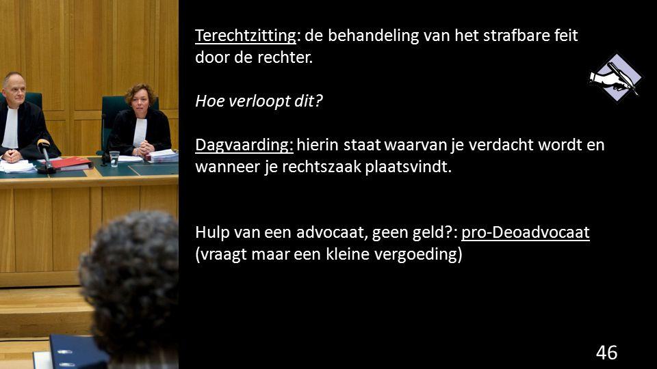 Terechtzitting: de behandeling van het strafbare feit door de rechter.