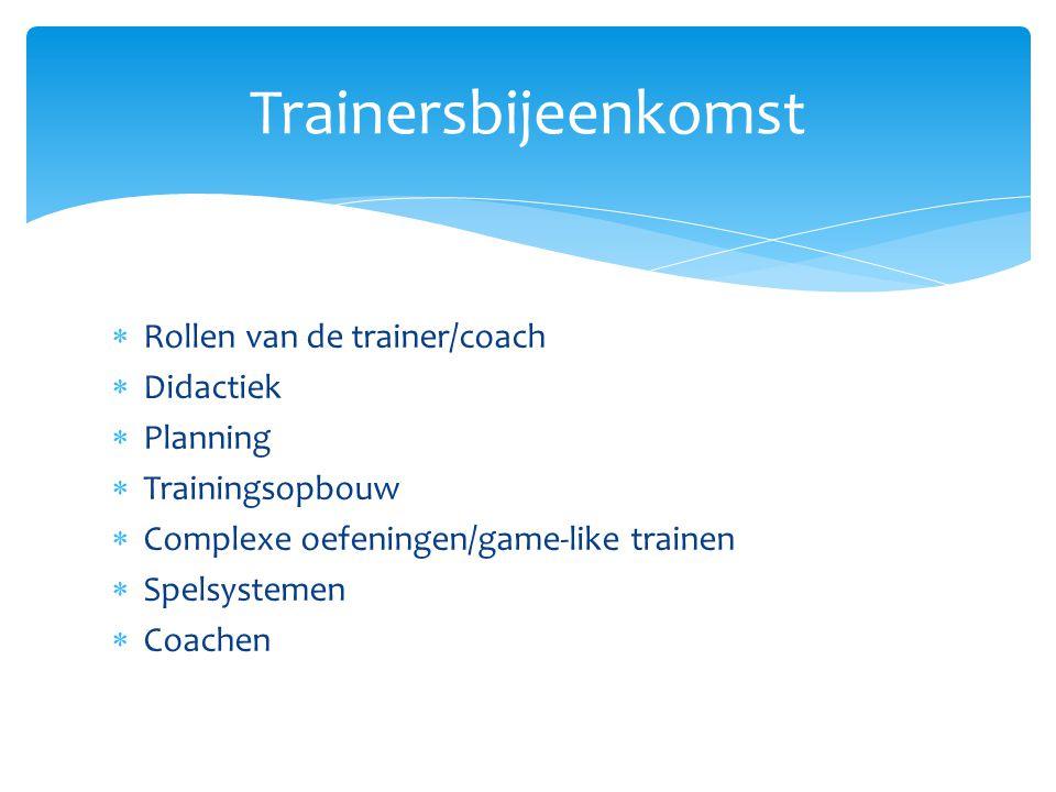 Trainersbijeenkomst Rollen van de trainer/coach Didactiek Planning