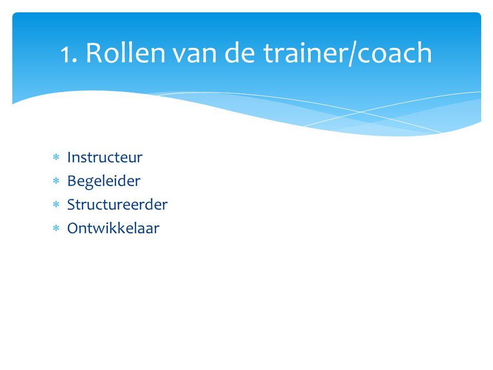 1. Rollen van de trainer/coach