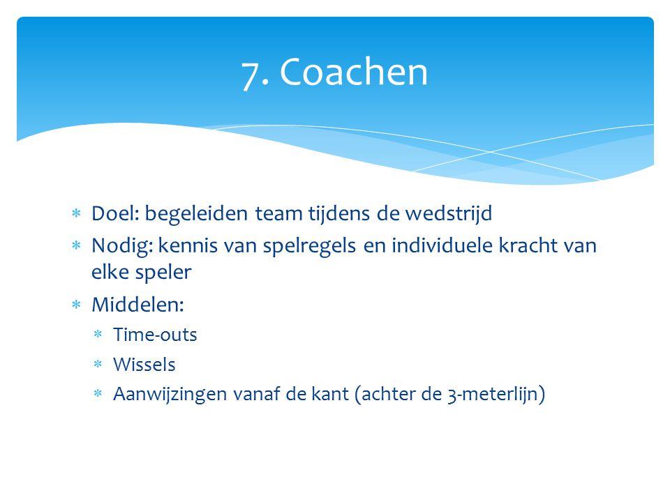 7. Coachen Doel: begeleiden team tijdens de wedstrijd