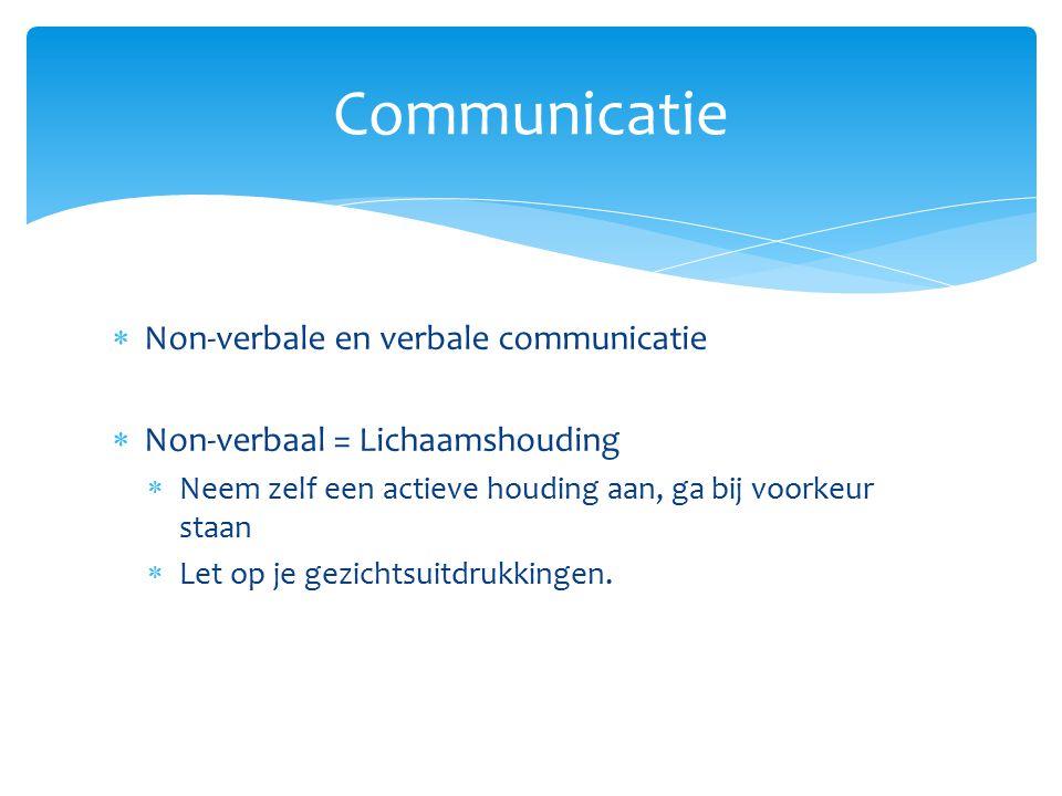 Communicatie Non-verbale en verbale communicatie