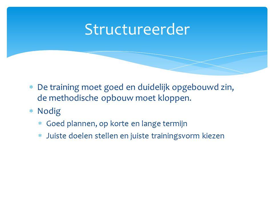 Structureerder De training moet goed en duidelijk opgebouwd zin, de methodische opbouw moet kloppen.