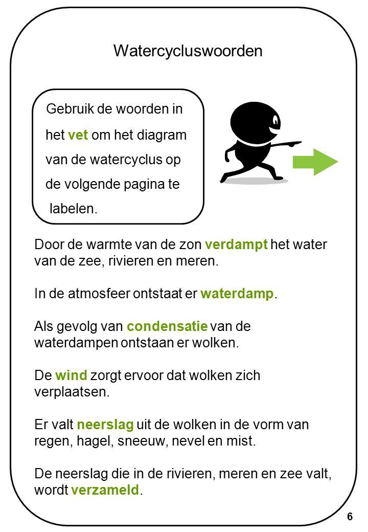 Watercycluswoorden Gebruik de woorden in het vet om het diagram