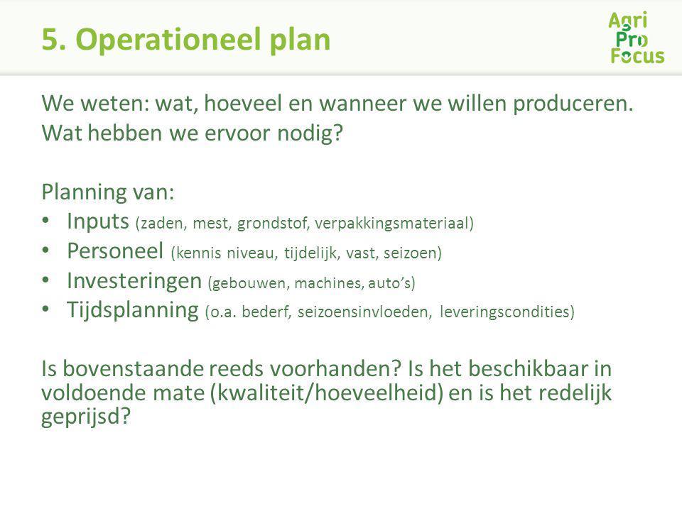 5. Operationeel plan We weten: wat, hoeveel en wanneer we willen produceren. Wat hebben we ervoor nodig