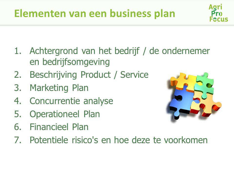 Elementen van een business plan