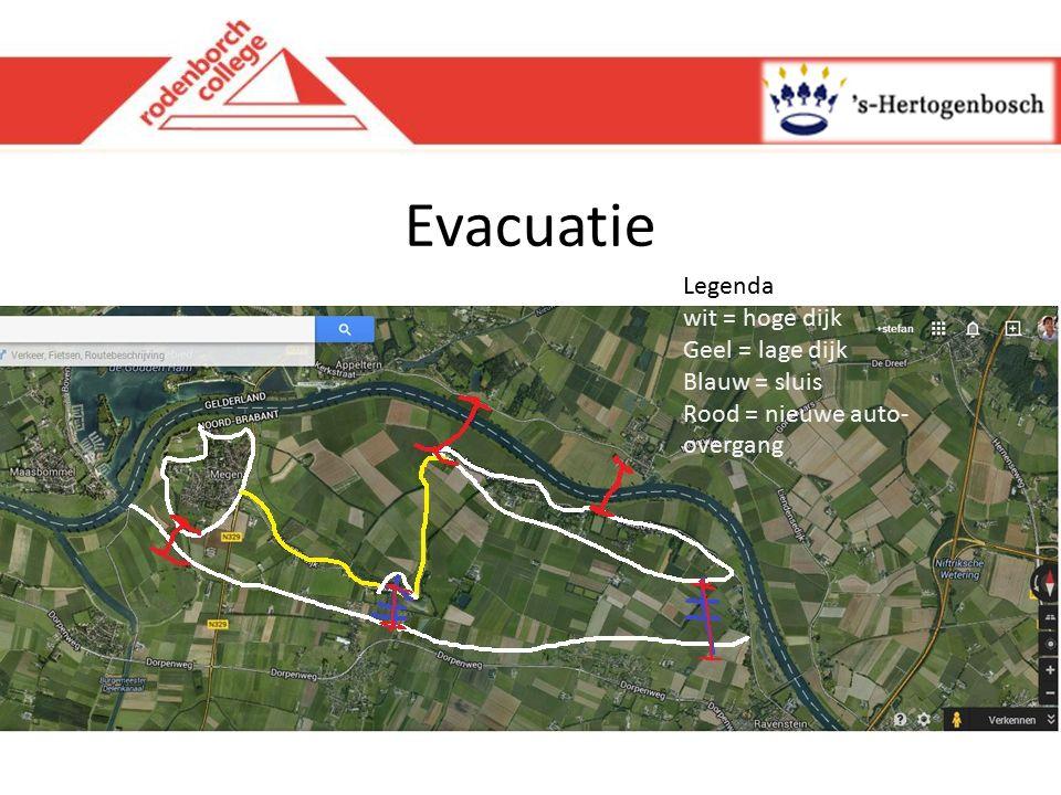 Evacuatie Legenda wit = hoge dijk Geel = lage dijk Blauw = sluis