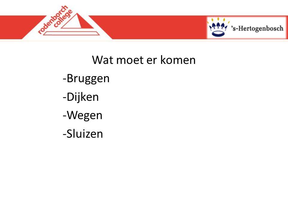Wat moet er komen -Bruggen -Dijken -Wegen -Sluizen