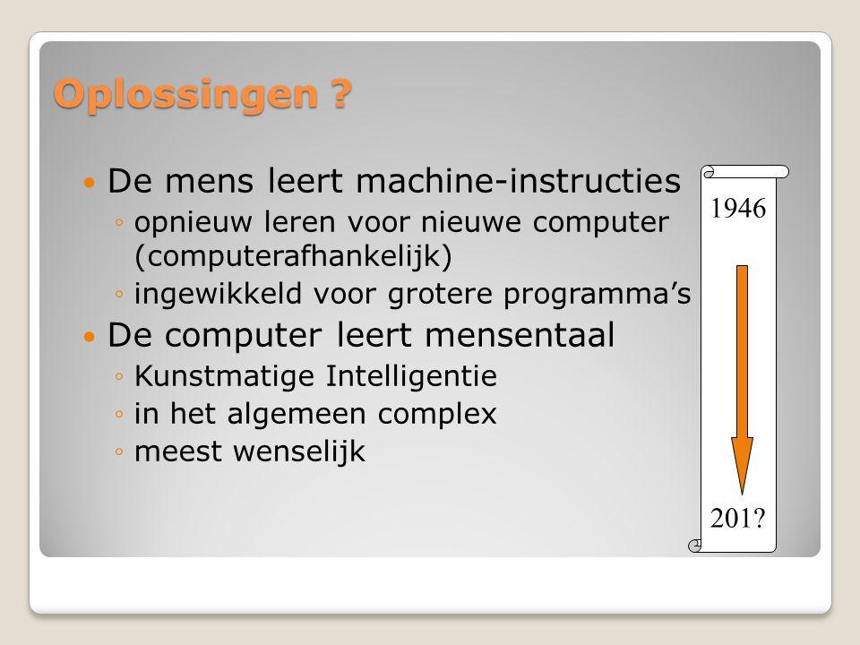 Oplossingen De mens leert machine-instructies
