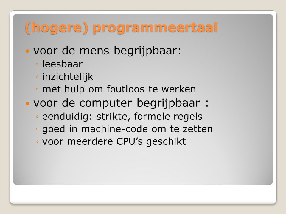 (hogere) programmeertaal