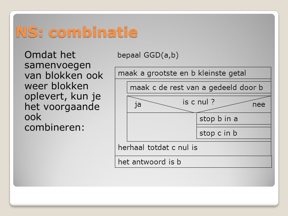 NS: combinatie Omdat het samenvoegen van blokken ook weer blokken oplevert, kun je het voorgaande ook combineren: