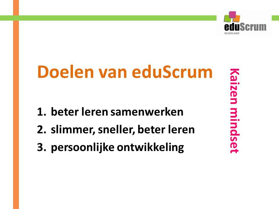 Doelen van eduScrum Kaizen mindset beter leren samenwerken
