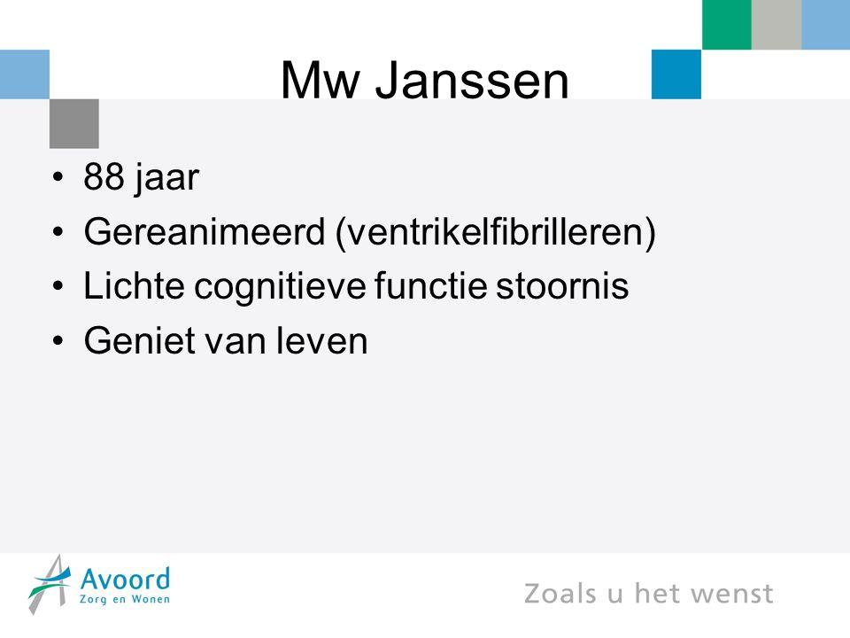 Mw Janssen 88 jaar Gereanimeerd (ventrikelfibrilleren)