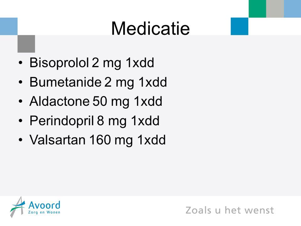 Medicatie Bisoprolol 2 mg 1xdd Bumetanide 2 mg 1xdd