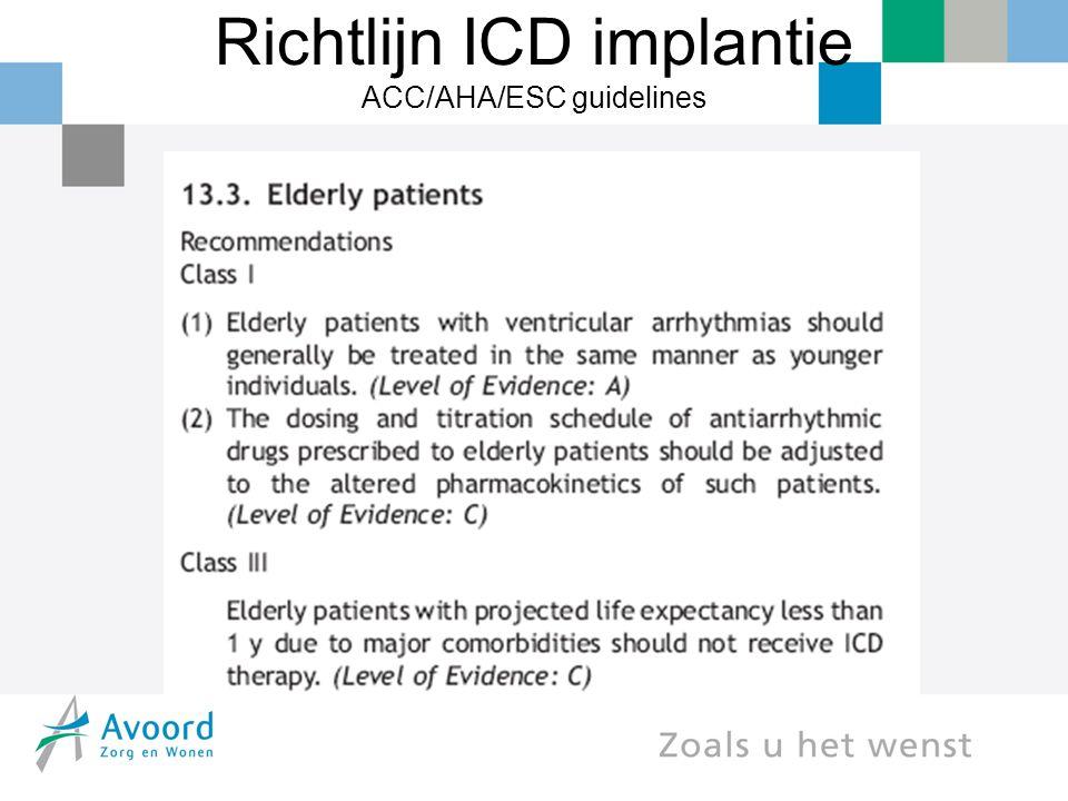 Richtlijn ICD implantie ACC/AHA/ESC guidelines